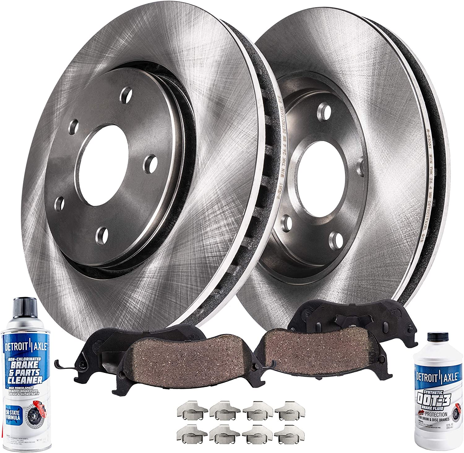 Drilled /& Slotted Front Brake Rotors /& Ceramic Pads w//Clips Hardware Kit for 2004 2005 2006 2007 2008 2009 Toyota Prius Detroit Axle