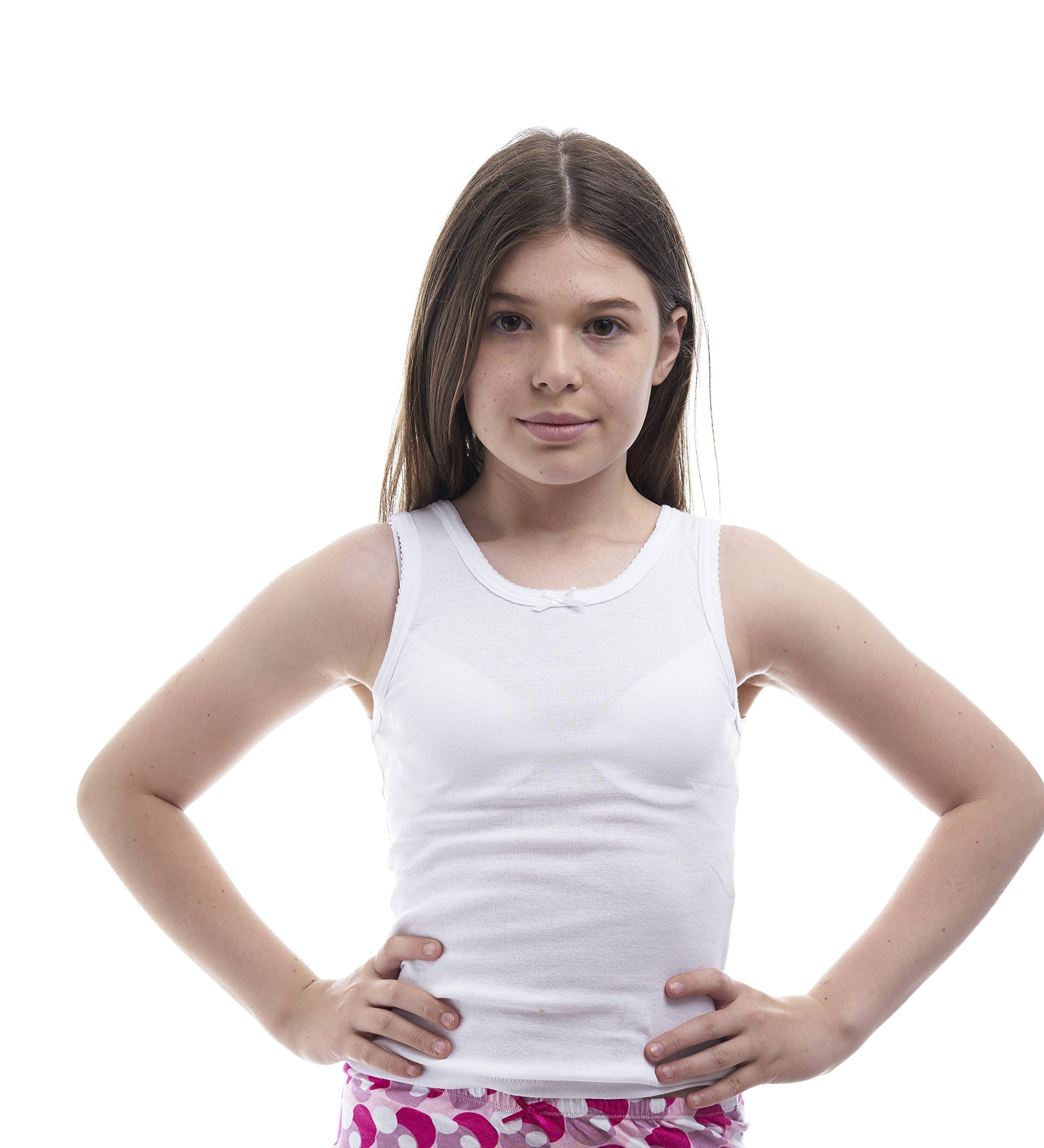 Rossette Girls Cotton White Cami Undershirts - Pack of 2 (14, White)