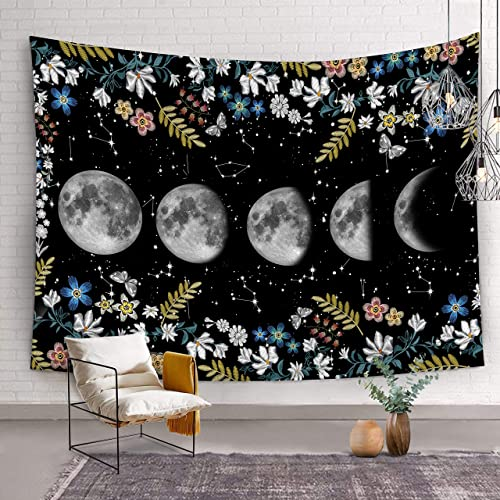 Bonsai Tree Moon Phases Tapestry, Constellation Moon Star Flowers Queen Tapestry Wall Hanging, Starry Night Galaxy Black White Wall Tapestries for Bedroom College Room Home Decorations, 68.9 x92