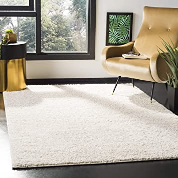 Amazon Com Safavieh New York Shag Collection Sg166b Ivory Area Rug