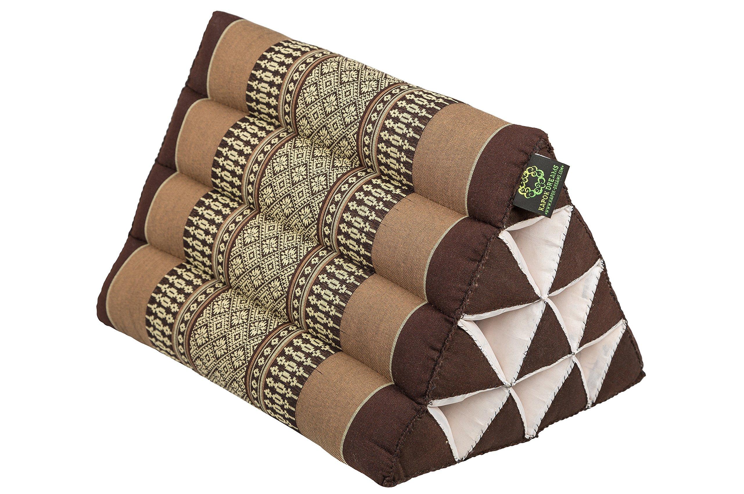 Kapok Dreams Thai Triangle Pillow 13''x8'', Triangular Cushion (Medium Size), 100% Natural Kapok Stuffing, Earthtones Brown Beige