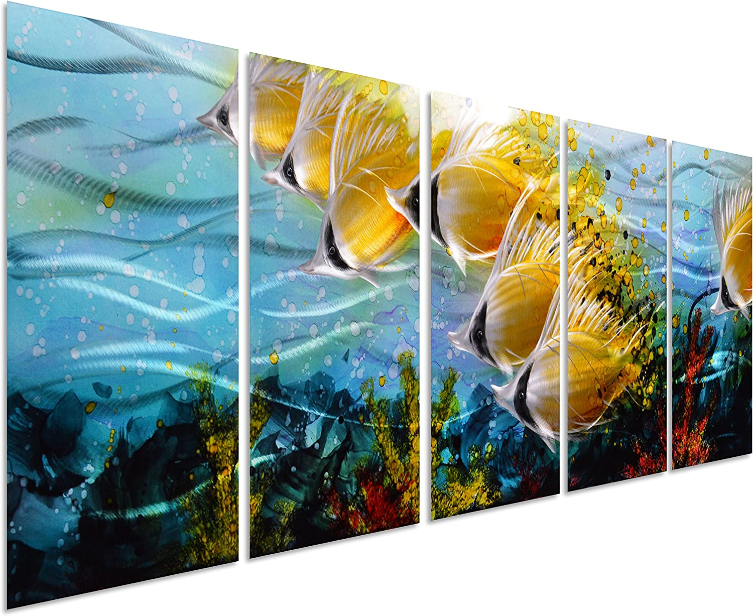 """Blue Tropical School of Fish Metal Wall Art, Large Metal Wall Art in Modern Ocean Design, 3D Wall Art for Modern and Contemporary Décor, 5-Panels, 24""""x 64"""", Metal Wall Décor Works Indoors and Outdoors"""