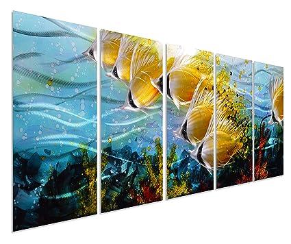 Blue Tropical School Of Fish Metal Wall Art, Large Metal Wall Art In Modern  Ocean