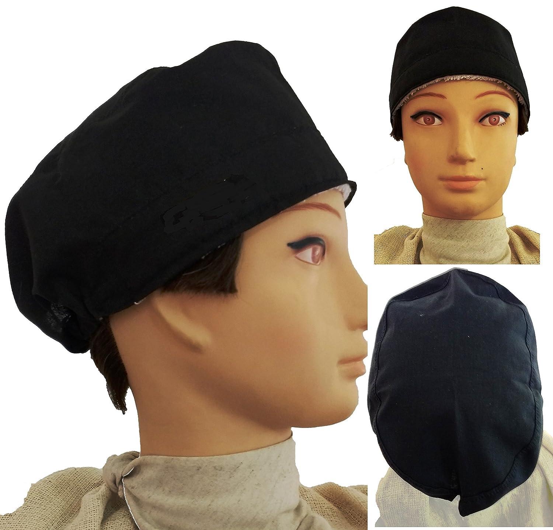 Cappello chirurgico. NERO. per i capelli corti. Donna. e uomo, chirurgo, dentista, veterinario, cucina, industria, ecc. Asciugamano sulla fronte, tenditore regolabile sul retro. Handmade Prime