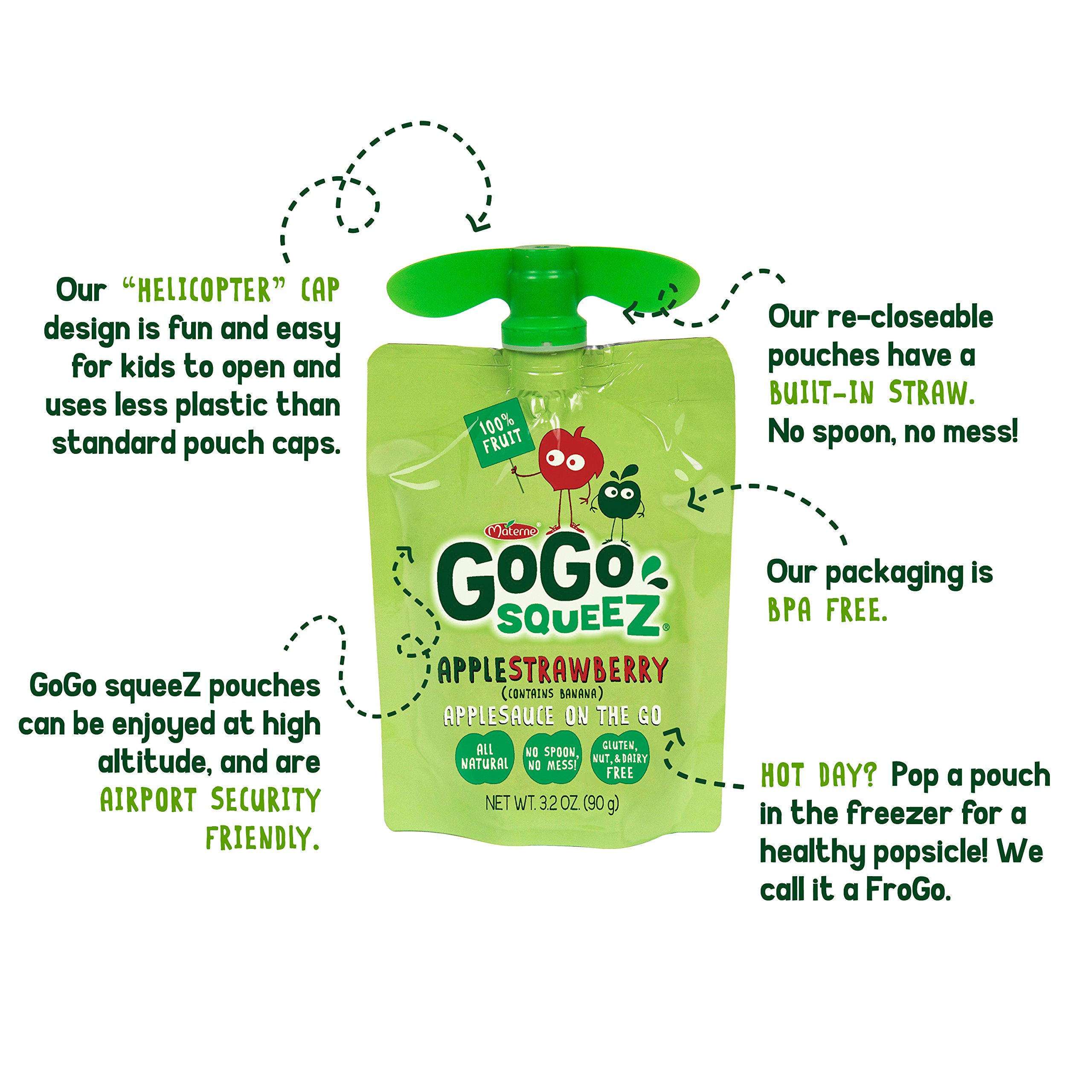 GoGo squeeZ Applesauce on the Go, Apple Strawberry, 3.2 Ounce Portable BPA-Free Pouches, Gluten-Free, 12 Total Pouches