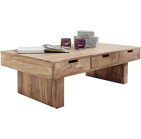 FineBuy Couchtisch Massivholz Design Wohnzimmer-Tisch 110 x 60 cm 3  Schubladen Landhaus-Stil Holztisch rechteckig Natur-Produkt  Massiv-Holz-Tisch ...