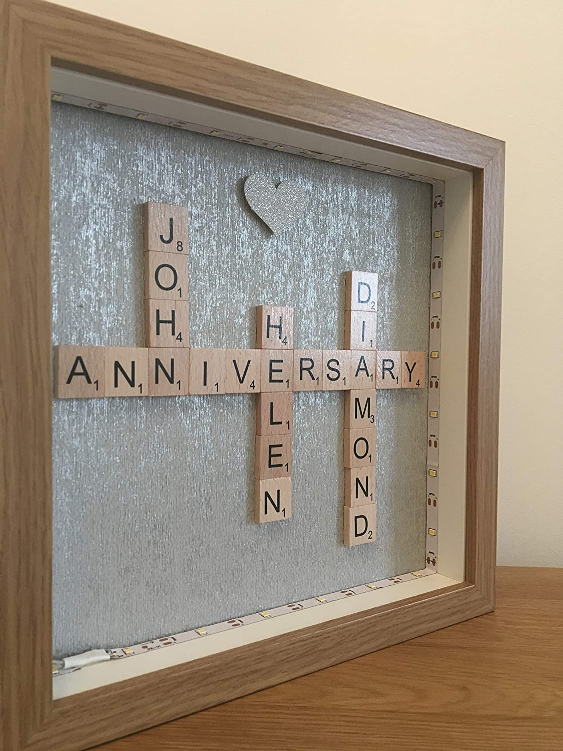 Personalised 60th Diamond Wedding Anniversary Names Scrabble Tile Picture Frame Choose Ivory Or Wooden Letters Words All Years Available To Choose Home Decor Handmade Products
