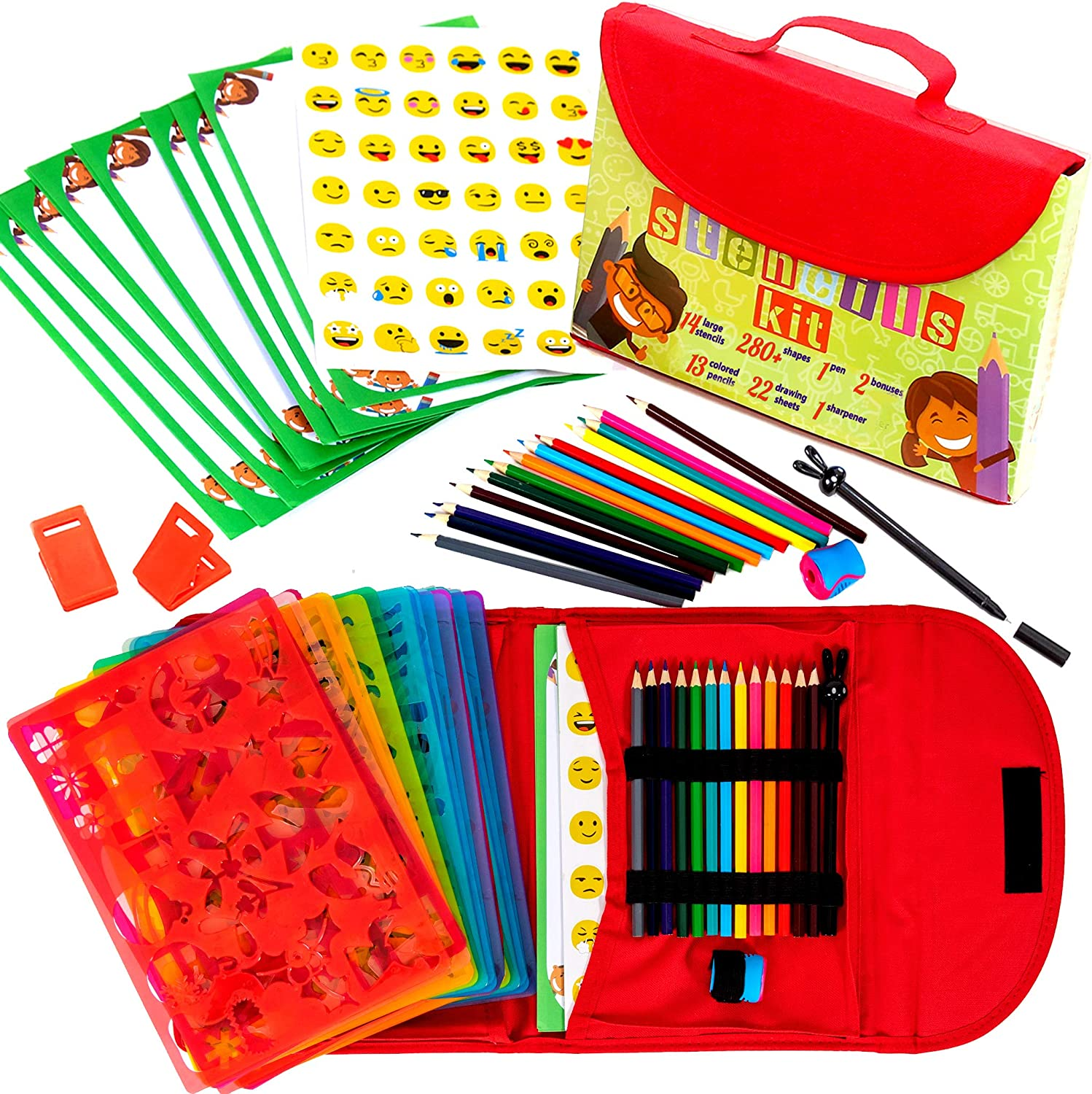 Drawing Stencils for Kids Kit & Carry Case – Child-Safe with 55 Pieces, Stencil Set with 280+ Shapes, Colored Pencils, Paper, Etc.– Travel Art Supplies for Creativity, Learning & Fun, Ideal Kids Gift
