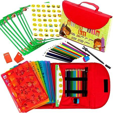 Kit de Plantillas de Dibujo para Niños 55-Piezas| Divertido Conjunto de Actividades de Viaje, Estuche Organizador con más de 280 Figuras, Artesanía para Niñas y Niños: Amazon.es: Hogar