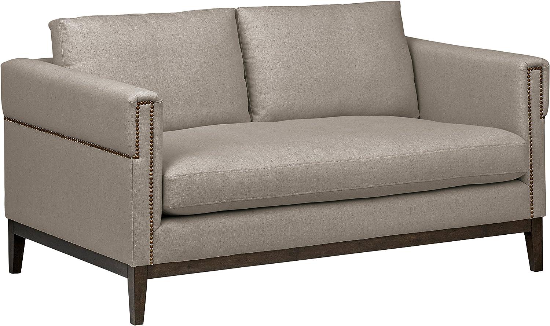 Amazon Brand – Stone & Beam Westport Modern Nailhead Upholstered Loveseat Sofa Couch, 61.5