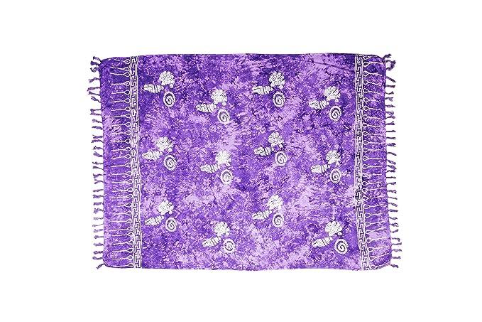 manumar Sarong | Toalla de playa Pareo | Tela ligera púrpura brillante con flecos y motivos