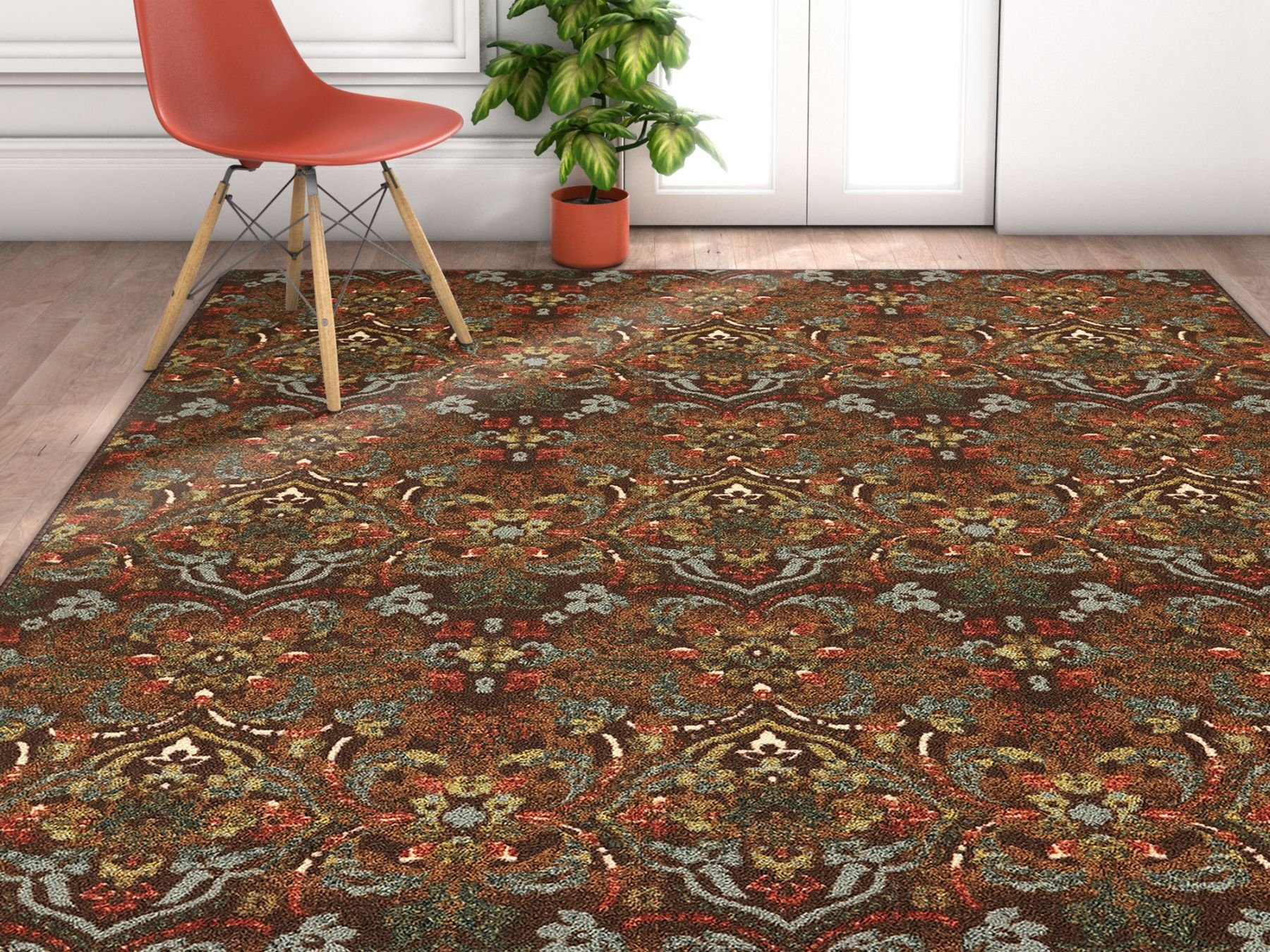 Non-Skid / Slip Rubber Back Antibacterial 8x11 (7'10''x9'10'') Traditional Persian Rug Brown Mutli Color Thin Low Pile Machine Washable Indoor Outdoor Area Rug