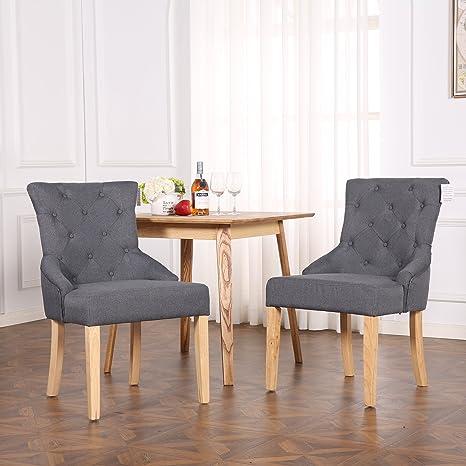 Set di 2 sedie per tavolo da pranzo, in lino di alta qualità, design ...
