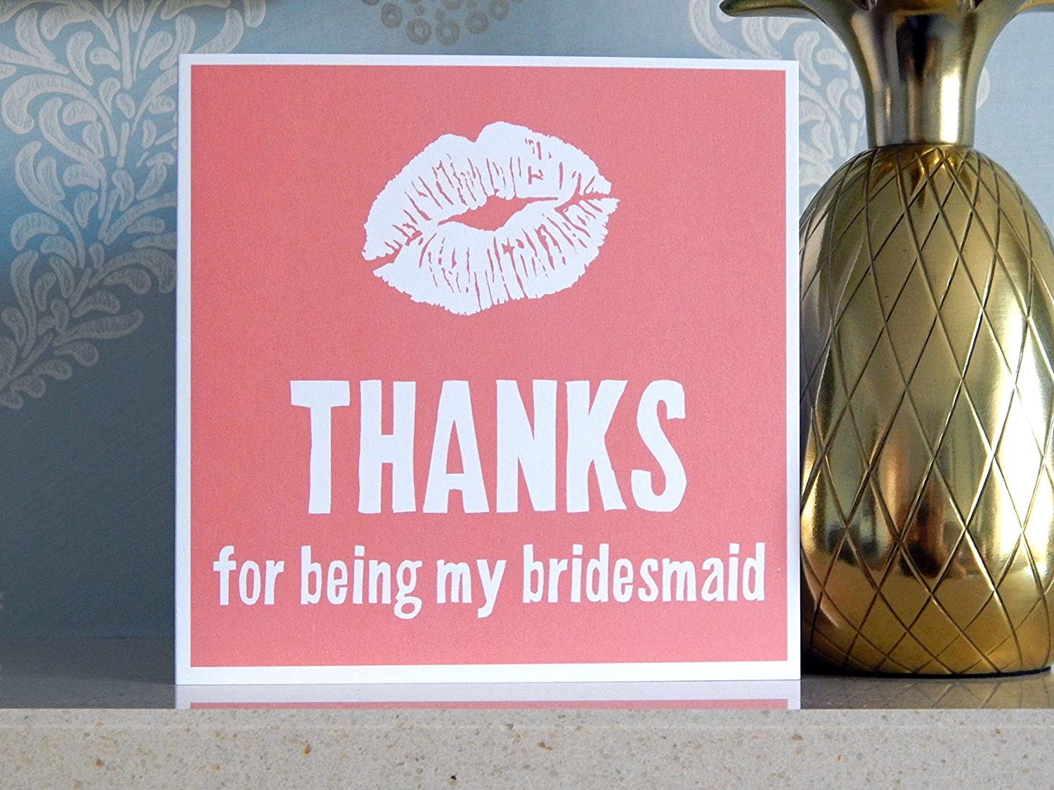 Thanks for Being My Bridesmaid Card Kiss Wedding Bridesmaid Thank You Card with Envelope Bridesmaids Thankyou Cards