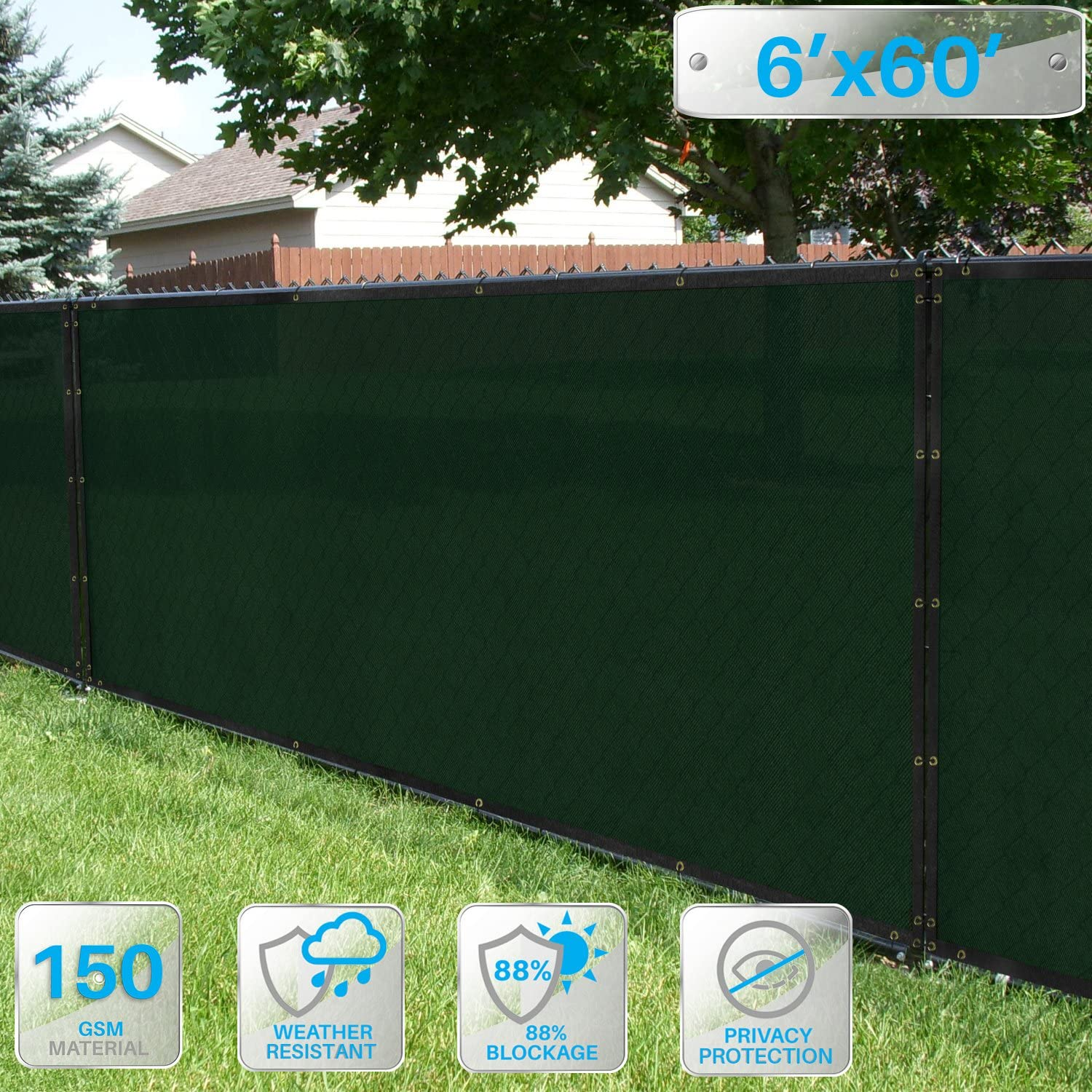 Patio Paradise 6 x 60 Dark Green Fence Privacy Screen, Commercial Outdoor Backyard Shade Windscreen Mesh Fabric with Brass Gromment 88 Blockage- 3 Years Warranty Customized