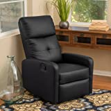 Teyana Black Leather Recliner Club Chair