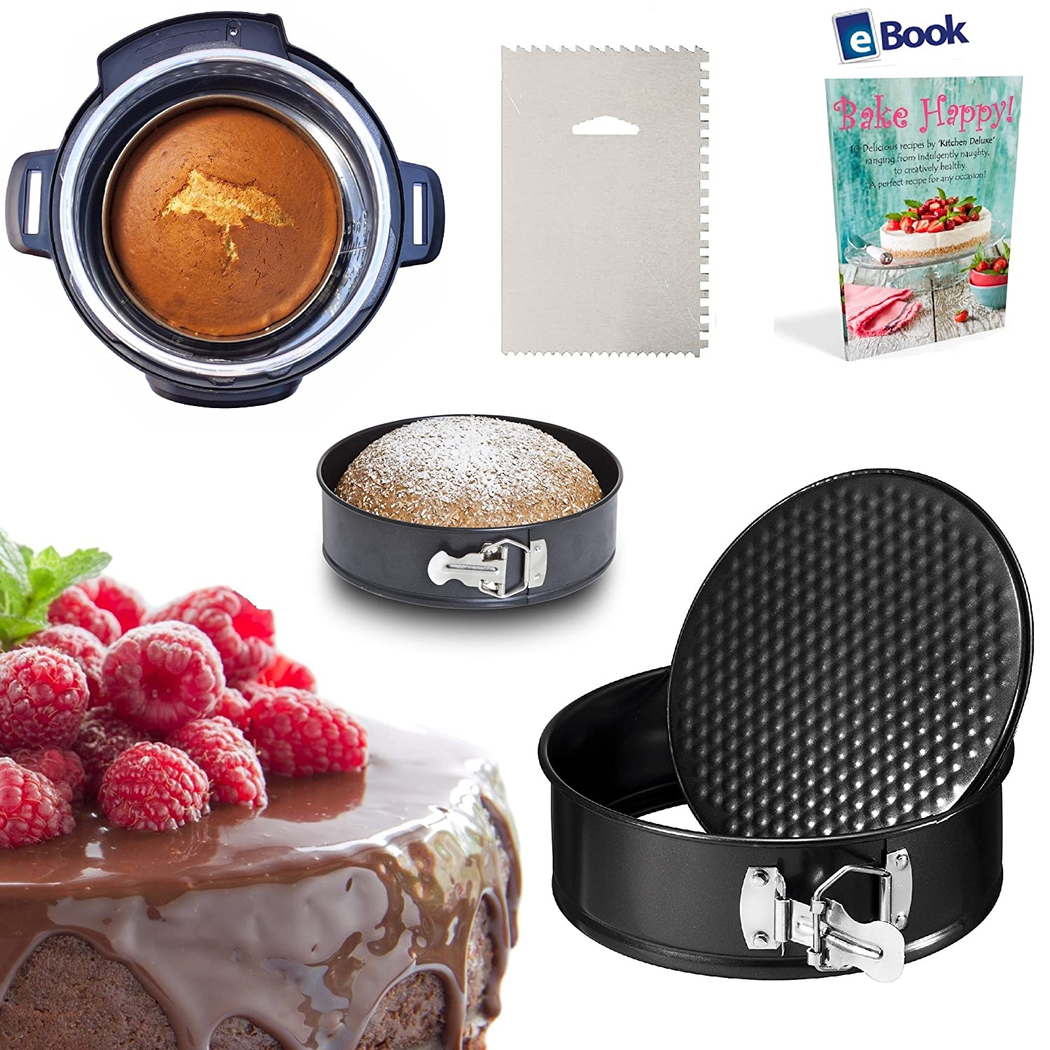 PREMIUM Springform Cake Pan - LEAKPROOF - 7 Inch - BEST Bundle - Fits Instant Pot Pressure Cooker 5, 6 Qt & 8 Quart - BONUS Accessories - Icing Smoother + eBook - Round Cheesecake Tin | For Instapot Kitchen Deluxe