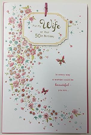50th Birthday Wife Large Handmade Greetings Card Age 50 Love