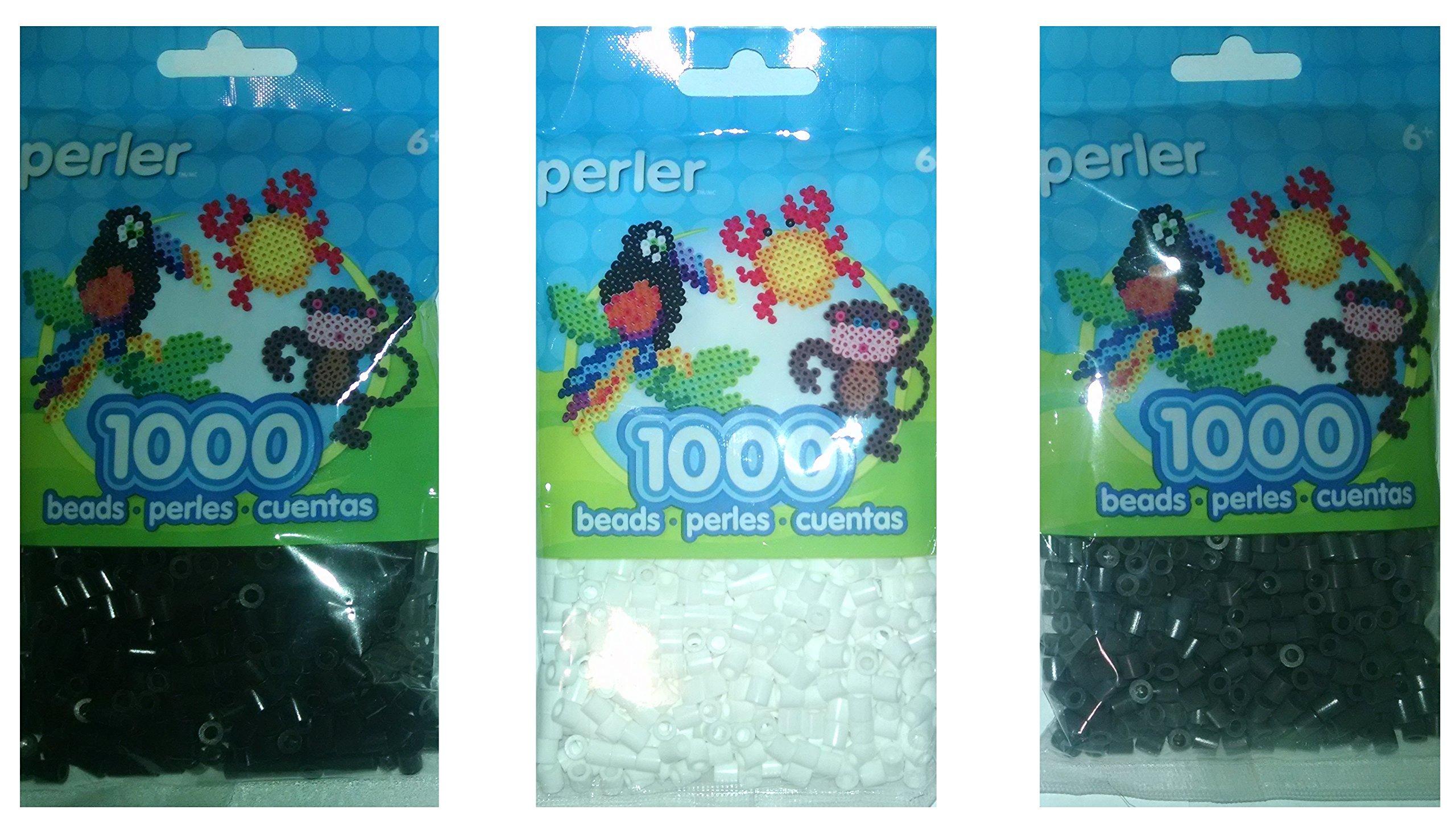 Perler Bead Bag Group Black, White And Dark Grey 1,000 Each