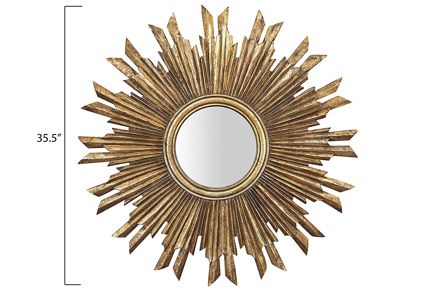 Sunburst mirror with gold finish for your classic, French country, or Parisian style space. #gildedmirror #mirrors #sunburstmirror #frenchcountry