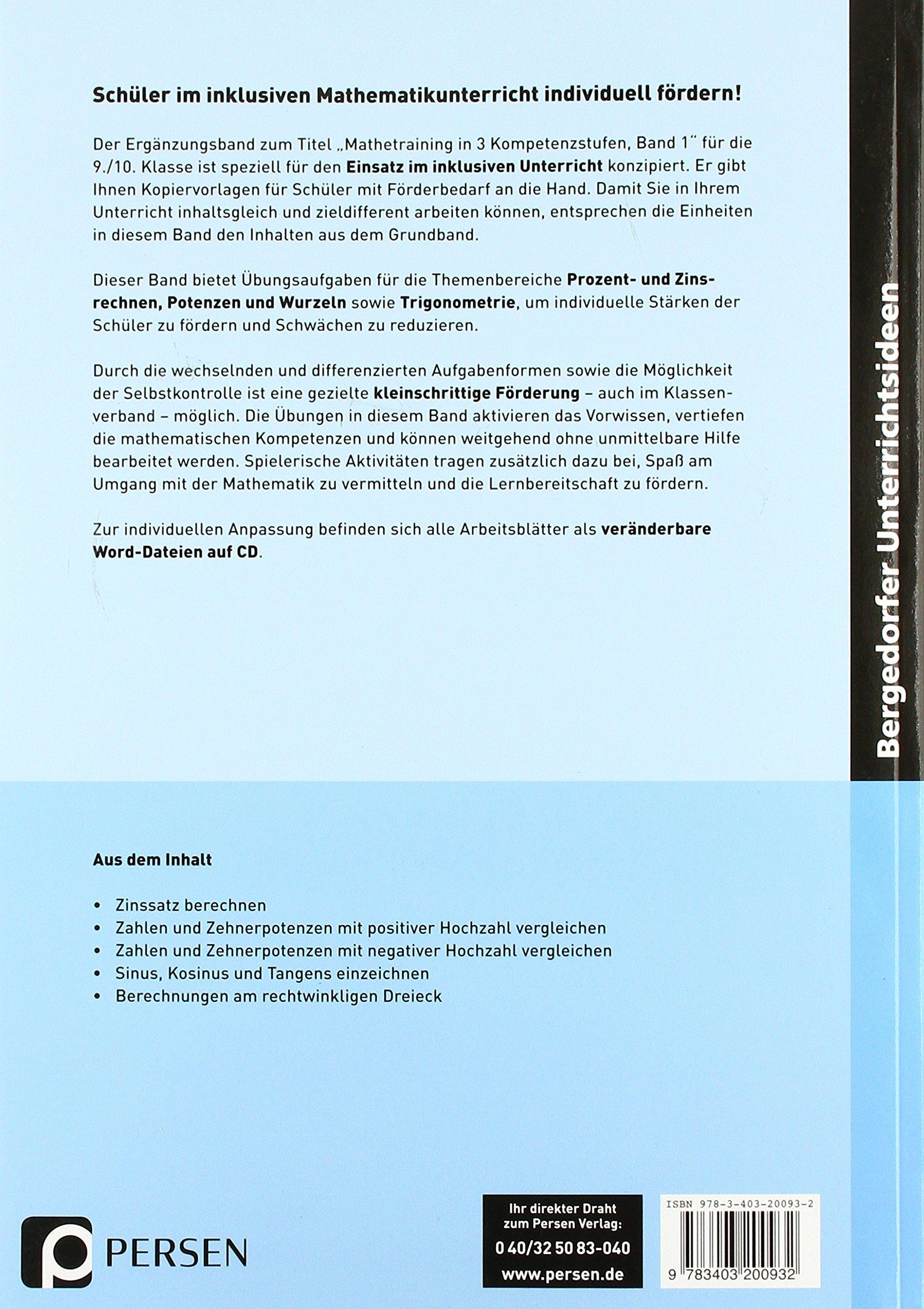 Mathetraining 9./10. Klasse Bd. 1 - Ergänzungsband: Prozent- und ...