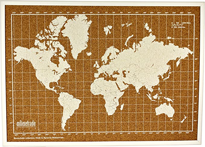 Milimetrado - Mapamundi de corcho con marco de madera de pino - 50 x 70 cm - Blanco: Amazon.es: Juguetes y juegos