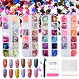 Holographic Butterfly Heart Glitter Nails Sequins, Nail Art Maple Leaves, 48 Colors Nail Sparkles Acrylic for Cosmetic Face E