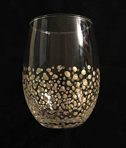 01b7b73bc95 Image Unavailable. Image not available for. Color: Gold Confetti Stemless  Wine Glasses ...