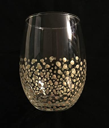 Amazoncom Gold Confetti Stemless Wine Glasses Set Of 4 Polka