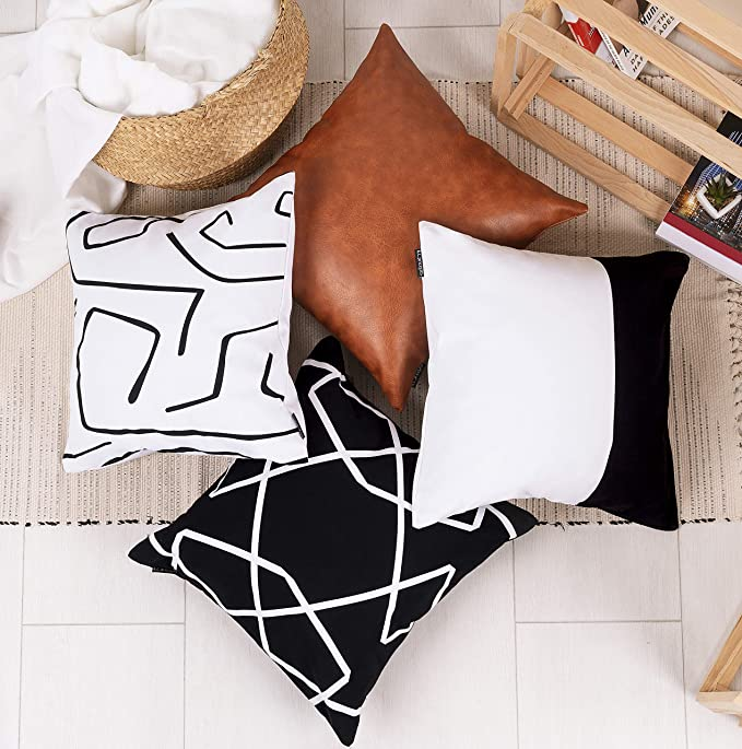 18 x 18 Inches Modern Simple Geometric Style Pillow Covers Stripe Soft Linen Burlap Square Throw Pillow Cases for Home Decor Sofa
