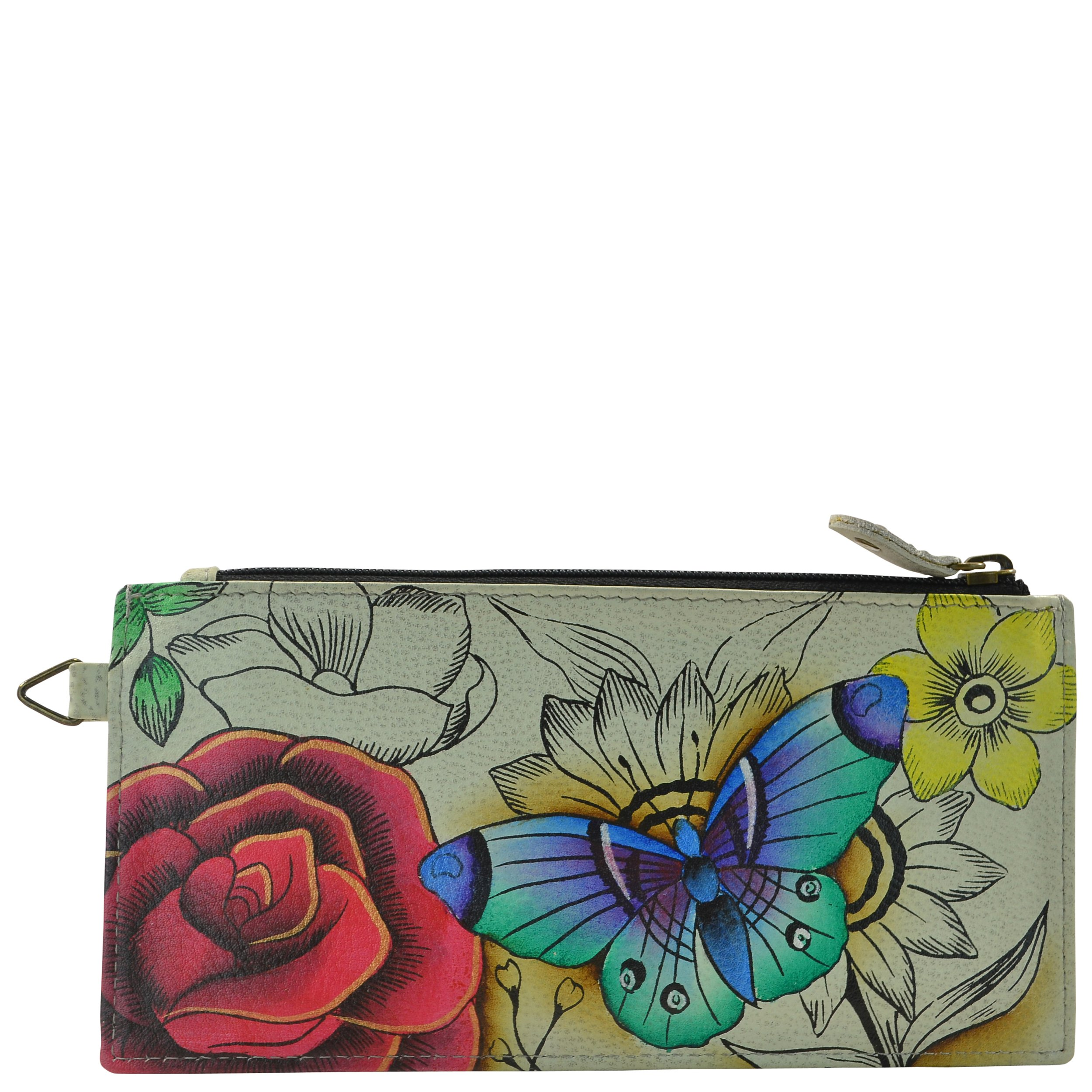 Anna by Anuschka Women's, Handpainted Leather Organizer Wallet,Floral Paradise, One Size