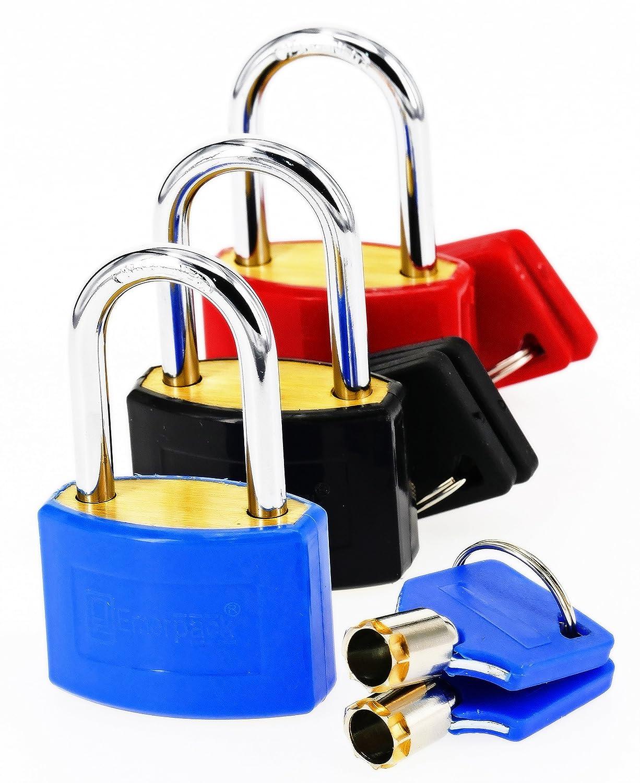 Schloss mit langem B/ügel Verschiedene Farben Blau Gep/äck oder Koffer oder Schulspinde Vorh/ängeschloss mit Rundschl/üssel f/ür Spind Vorh/ängeschl/össer mit schl/üssel f/ür Spinde//Fitnesscenter