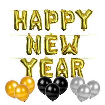 metallic gold happy new year foil balloons 30x gold silver black