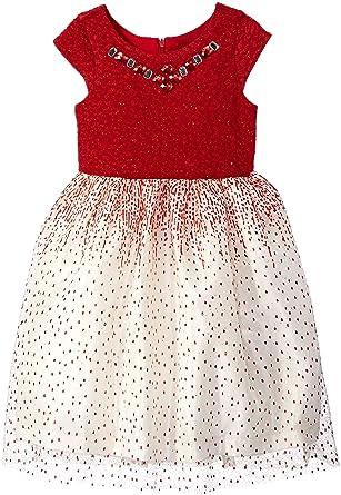 fa6e7b3436c Amazon.com  Jayne Copeland Girls  Little 2-6X Glitter Knit-Dot Mesh ...