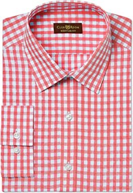 Club Room Mens Gingham Regular Fit Dress Shirt