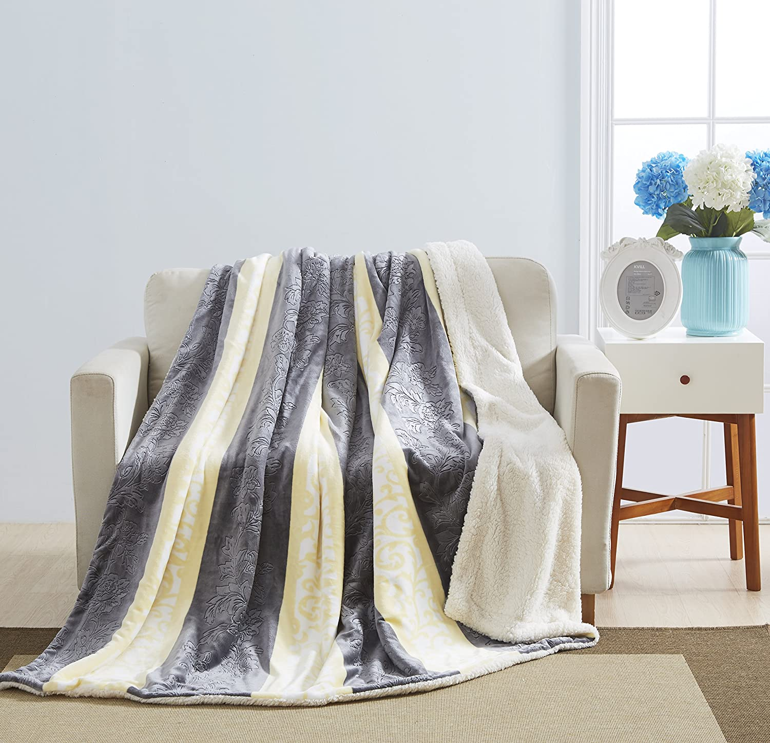 Blanket with Sherpa/Borrego Backing Queen/King Size (Yellow/ Grey