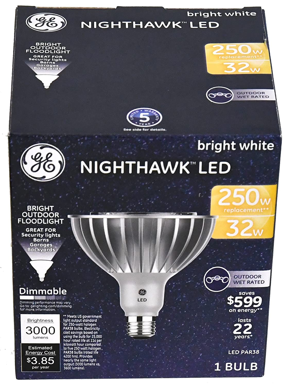 Nighthawk LED 32W GE LED Bright White Outdoor Floodlight 3000 Lumens (1 Bulb per Package),
