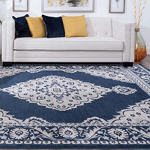 Tayse Galilea Navy 8×10 Rectangle Area Rug