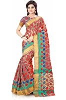 Royal Export Women's Cotton Silk Saree (Pink apx flwrr)
