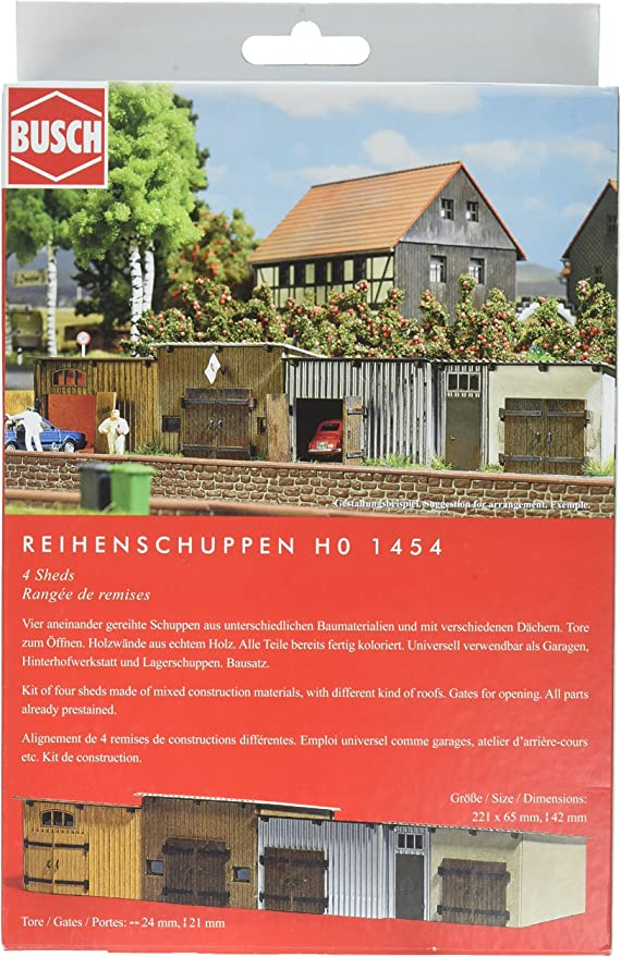 Busch 1454 4 Sheds HO Structure Scale Model Structure