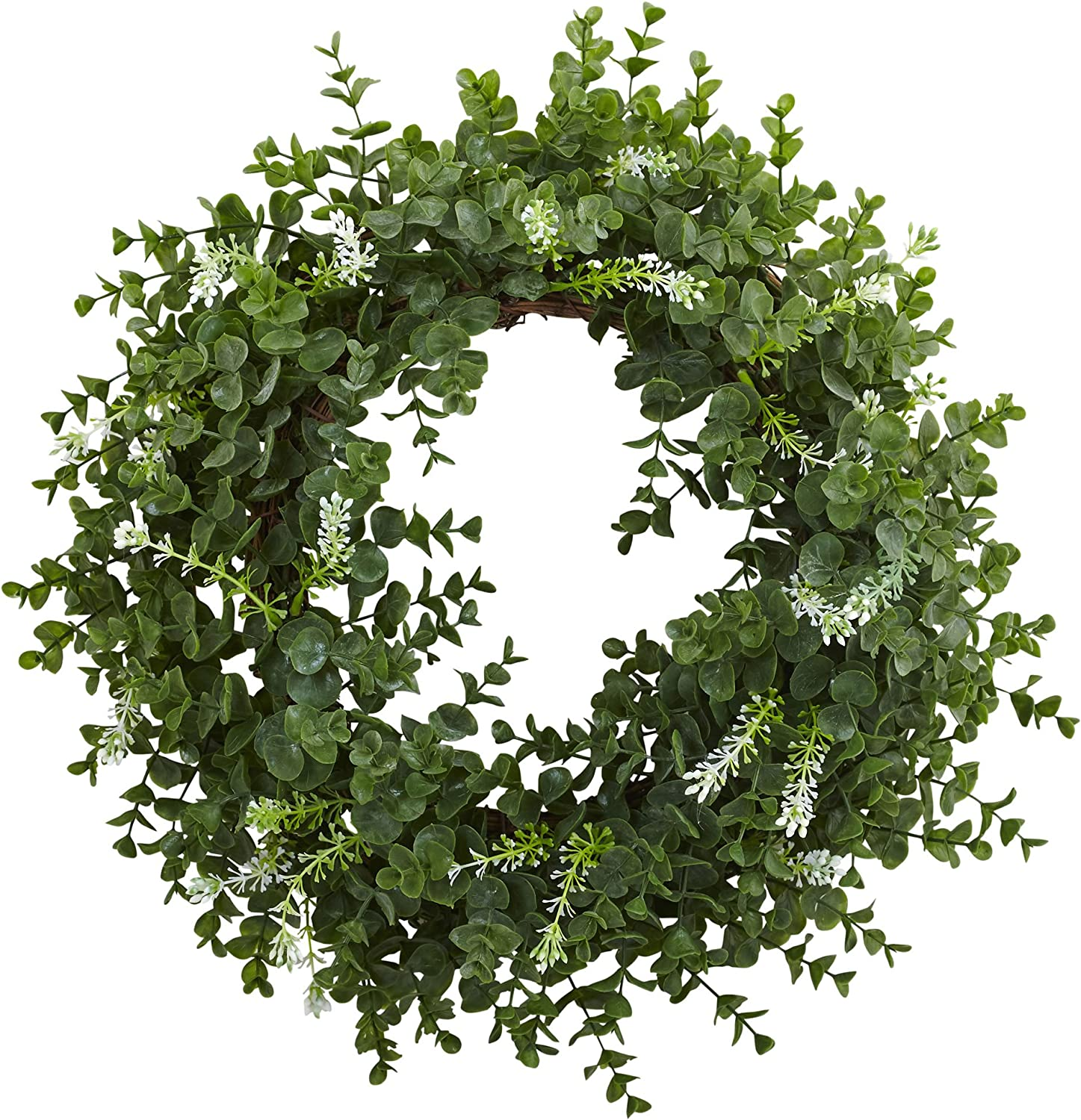 """Nearly Natural 18"""" Eucalyptus Double Ring Wreath with Twig Base, Green"""