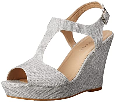 Rampage Women's Candelas Platform Ankle Strap Dress Wedge Sandal, Silver ,  6 ...