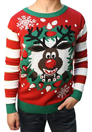 Ugly Christmas Sweater Teen Boys Rudolph Led Light Up Chandail