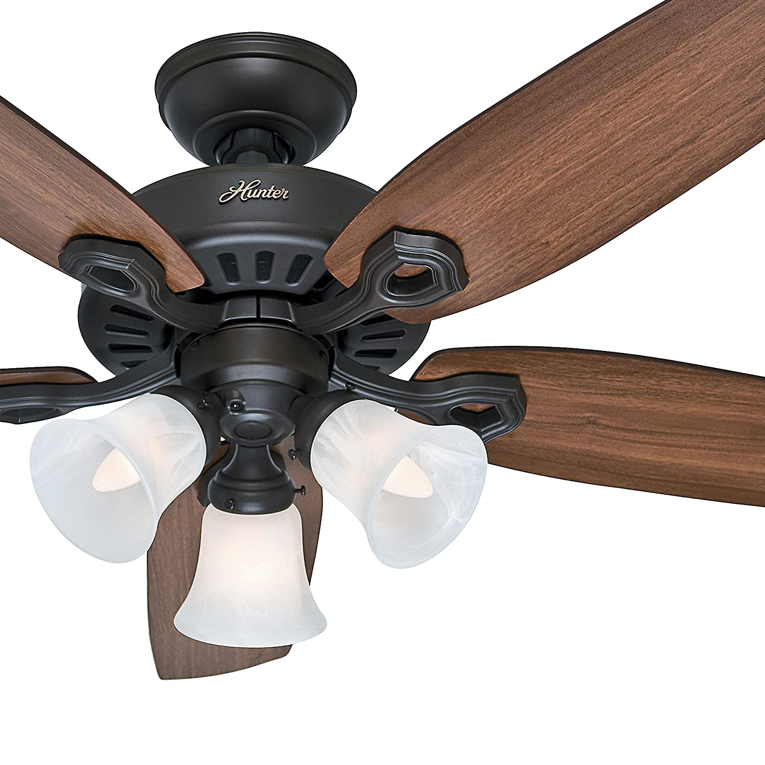 Hunter Fan 42 inch Traditional Snow White Ceiling Fan with Three-Light Fitter and Swirled Marble Glass, 5 Blade Renewed New Bronze