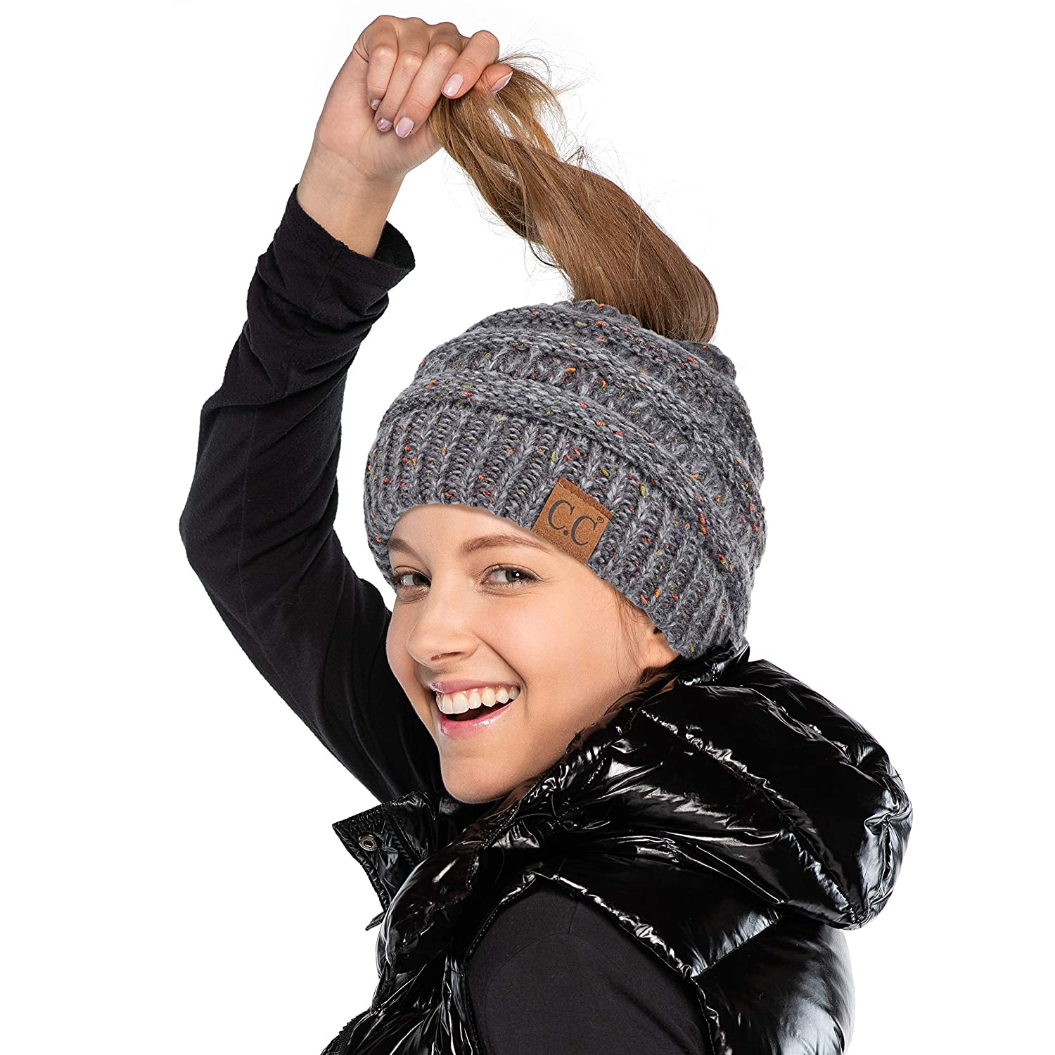 C.C Hatsandscarf Exclusives Ribbed Confetti Knit Messy Bun Beanie Tail Hat (Dk. Mel Grey Ombre)