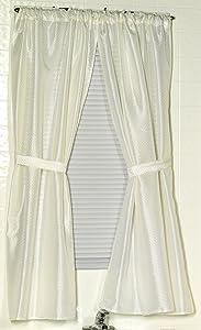 Carnation Home Fashions Lauren Dobby Fabric Bathroom Window Curtain, 34-Inch by 54-Inch, Ivory