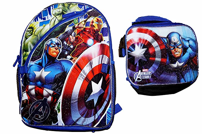 Image Unavailable. Image not available for. Color  Marvel Avengers Boys  Backpack and Lunchbox - 16 inch ... 07c888c04ff0b