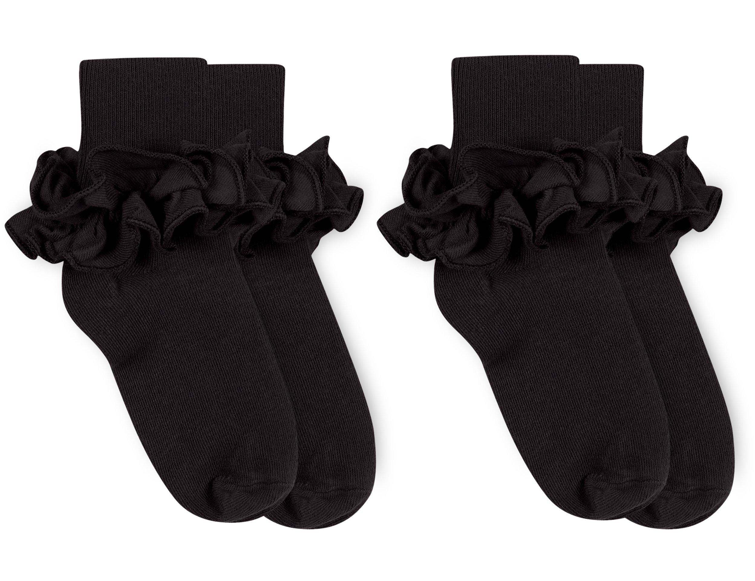 Jefferies Socks Girls Misty Ruffle Turn Cuff Socks 2 Pair Pack (Toddler - USA Shoe 3-7 - Age 1-2 Years, Black)