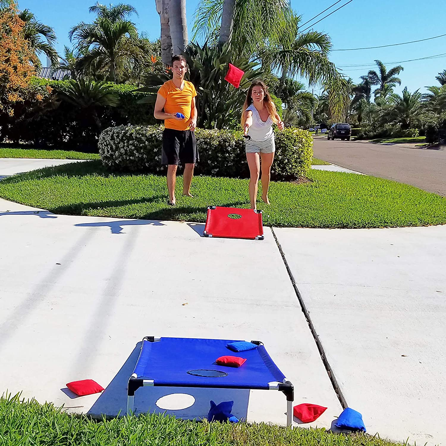 1 Blue Board Indoor//Outdoor Game Bean Bag Toss Game Set 1 Red 8 Bean Bags /& Travel Bag Funsparks Portable Cornhole Game