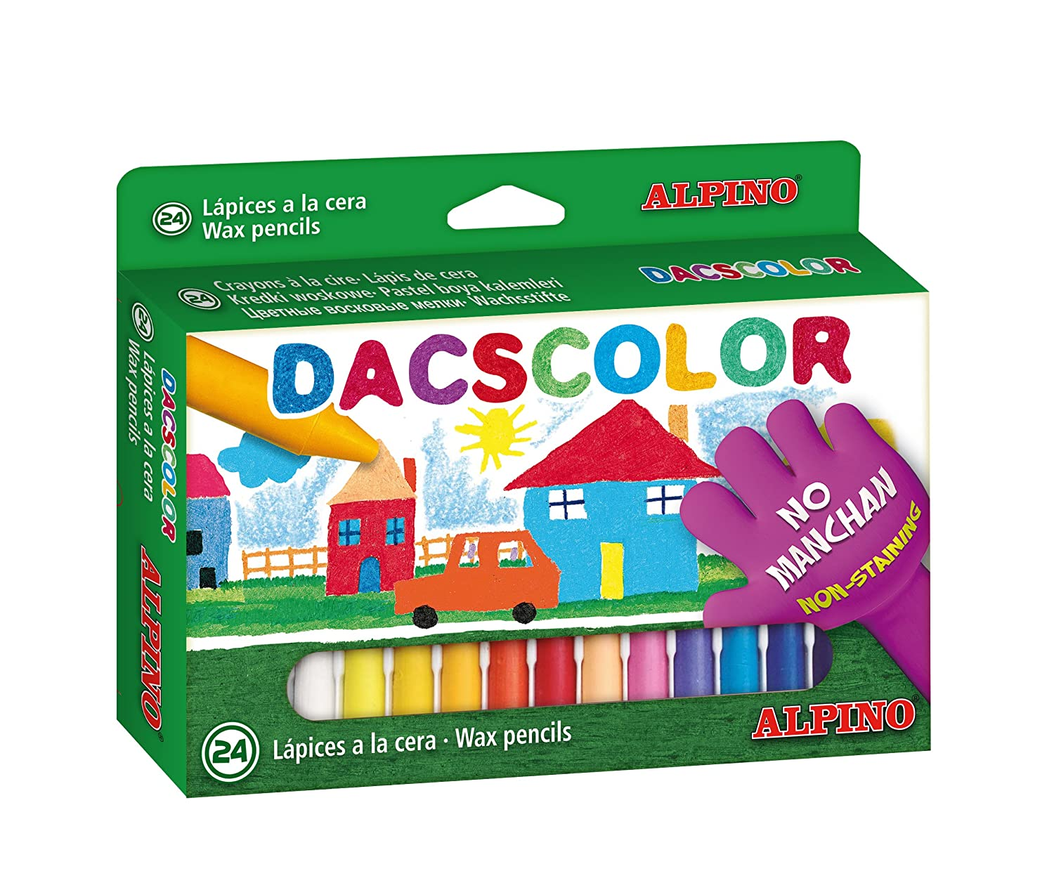 Amazon.com : ESTUCHE 24 CERAS DACSCOLOR SEMIBLANDAS : Office ...